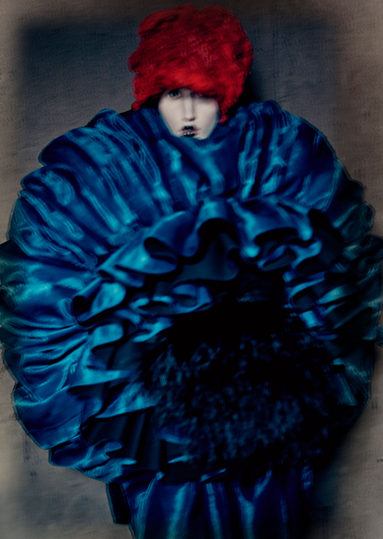 Rei Kawakubo (Japanese, born 1942) for Comme des Garçons (Japanese, founded 1969). Blue Witch, spring/summer 2016.Photograph by © Paolo Roversi; Courtesy of The Metropolitan Museum of Art