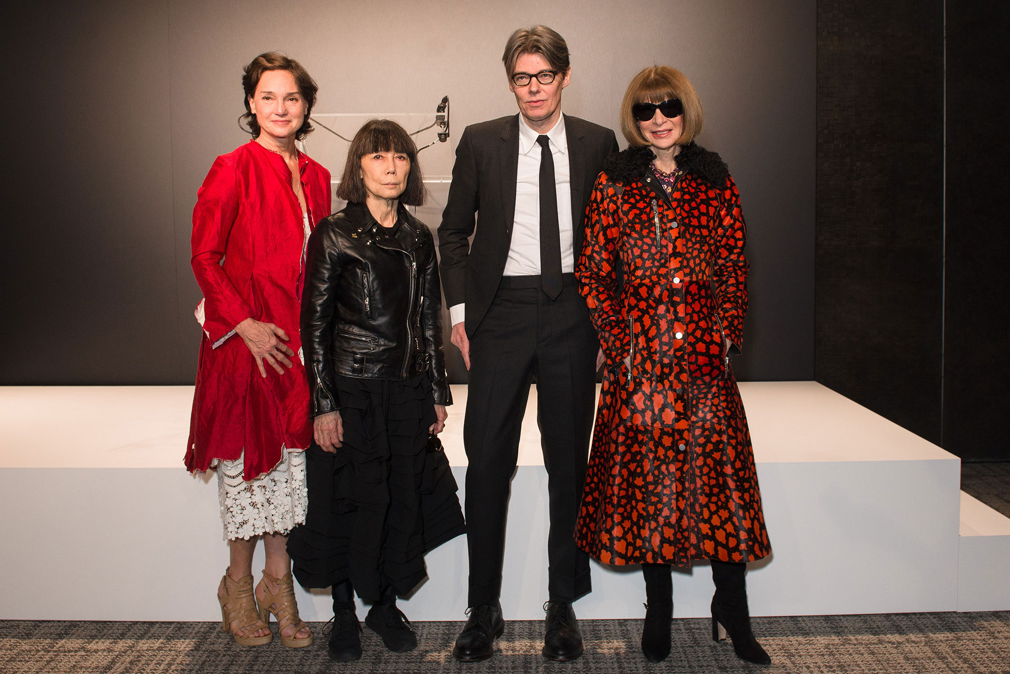 (from left) Carrie Rebora Barratt, Rei Kawakubo, Andrew Bolton, and Anna Wintour at The Met's Rei Kawakubo/Comme des Garçons: Art of the In-Between advance press event. Courtesy of The Metropolitan Museum of Art/BFA.com