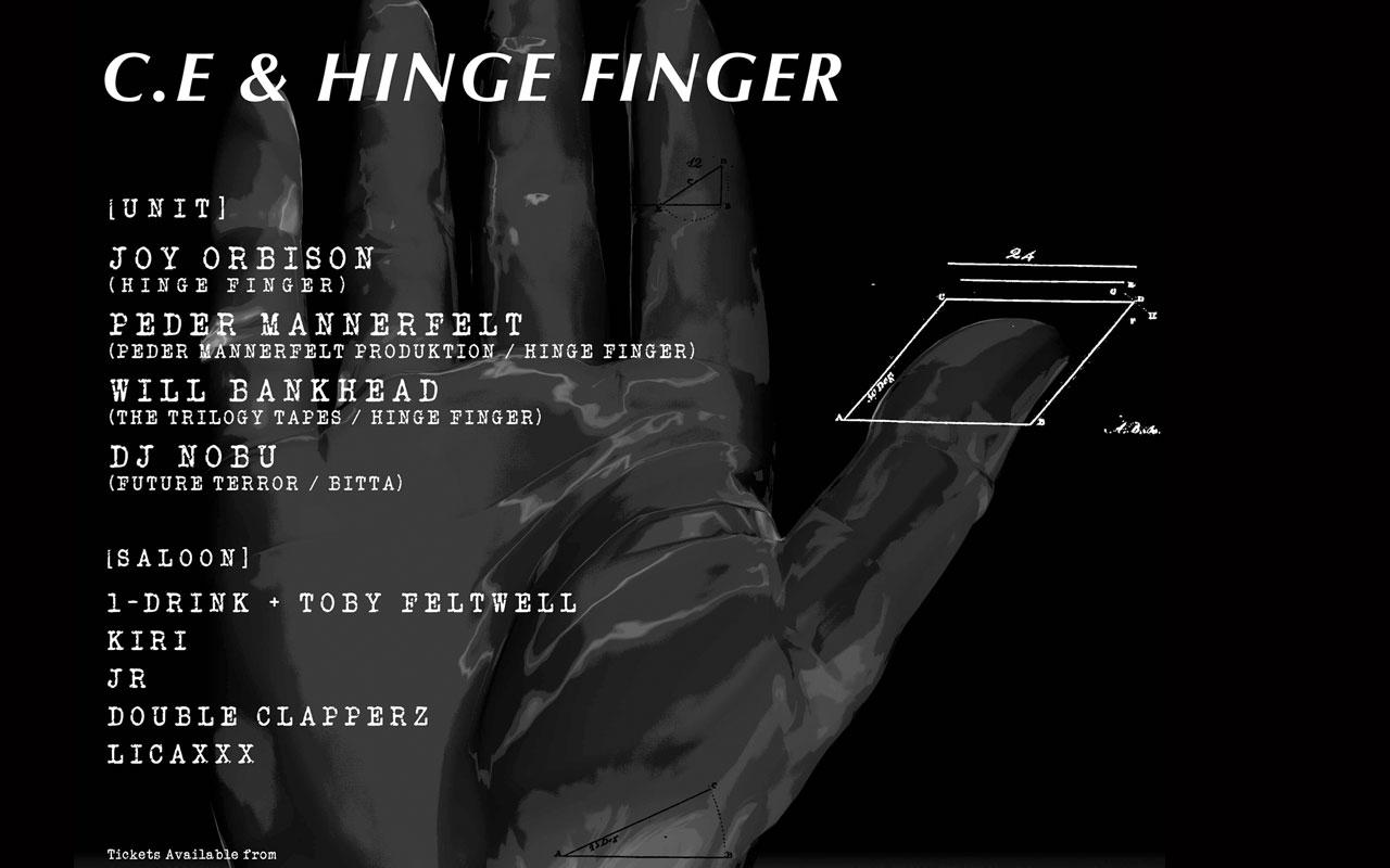 C.E 主催のイベント「C.E & HINGE FINGER」が開催、ストックホルムの電子音楽家 Peder Mannerfeltr (ペダー・マネルフェルト) ら豪華ゲストが来日