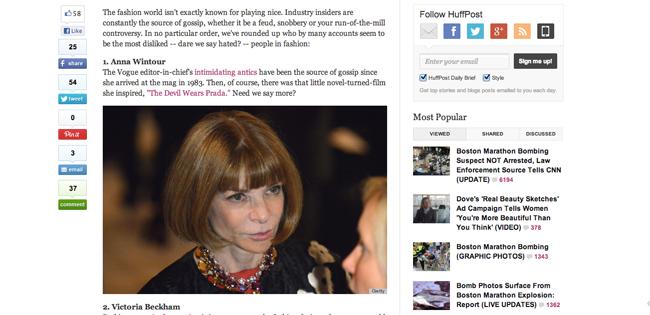 『Huffington Post (ハフィントン・ポスト) 』が選ぶ、ファッション業界でもっとも「嫌われている」7人