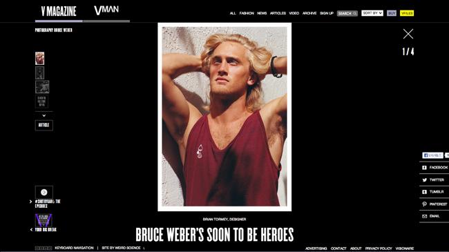 写真家 Bruce Weber (ブルース・ウェーバー) がレンズを向けた次世代のヒーロー達。『V Magazine』最新号にて公開