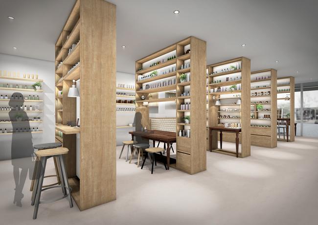 カフェ融合型の新ビューティストア「BEAUTY LIBRARY」が表参道に4月オープン、ストアデザインはnendoの佐藤オオキ