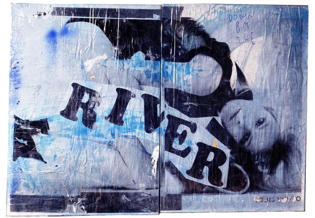 DOWN BY THE RIVER | 2015年 |  紙、油性インク、ビニールテープ、ウッドパネル