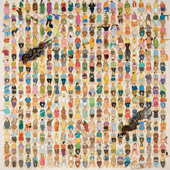 N・S・ハルシャ 《ここに演説をしに来て》 (部分) 2008年 アクリル、キャンバス 182×182 cm (×6) Copyright MORI ART MUSEUM All Rights Reserved.