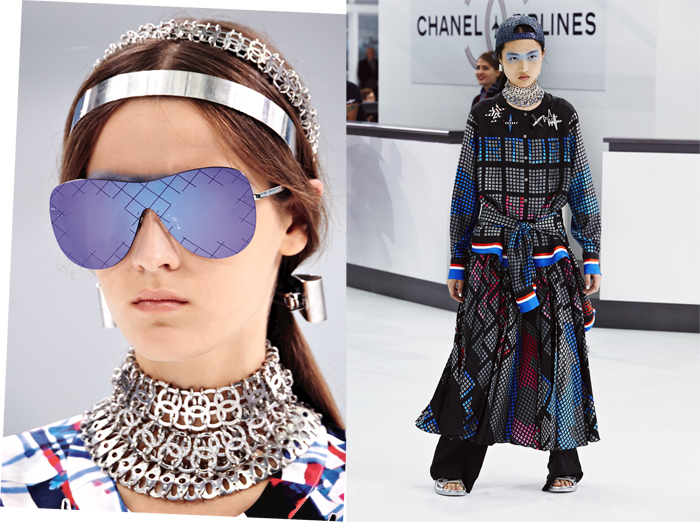 Chanel のロゴを繋いだユニークなチョーカーネックレス。一つと言わず、いくつも重ねづけしてドレスアップを楽しみたい。メタルのチョーカー (上) ¥ 204,000、(中、下) 参考商品 | © Chanel