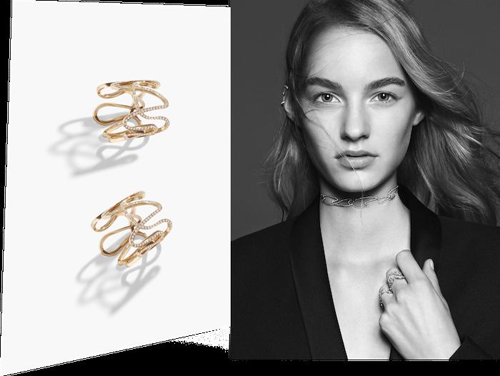 Repossi (レポシ) の繊細なリングは重ねづけにうってつけ。ピンクゴールドとパヴェダイヤモンドが醸し出す極上のモダニズムを楽しみたい。リング (PG × ダイヤモンド) 参考価格 | © David Sims