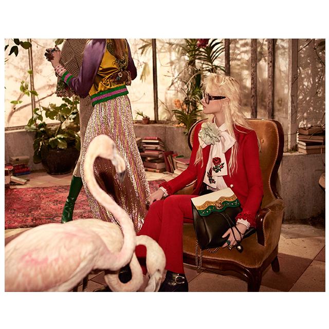 舞台はガラスドームで覆われたトロピカルなバードケージ、Gucci (グッチ) 2016年プレフォール広告ビジュアルが公開