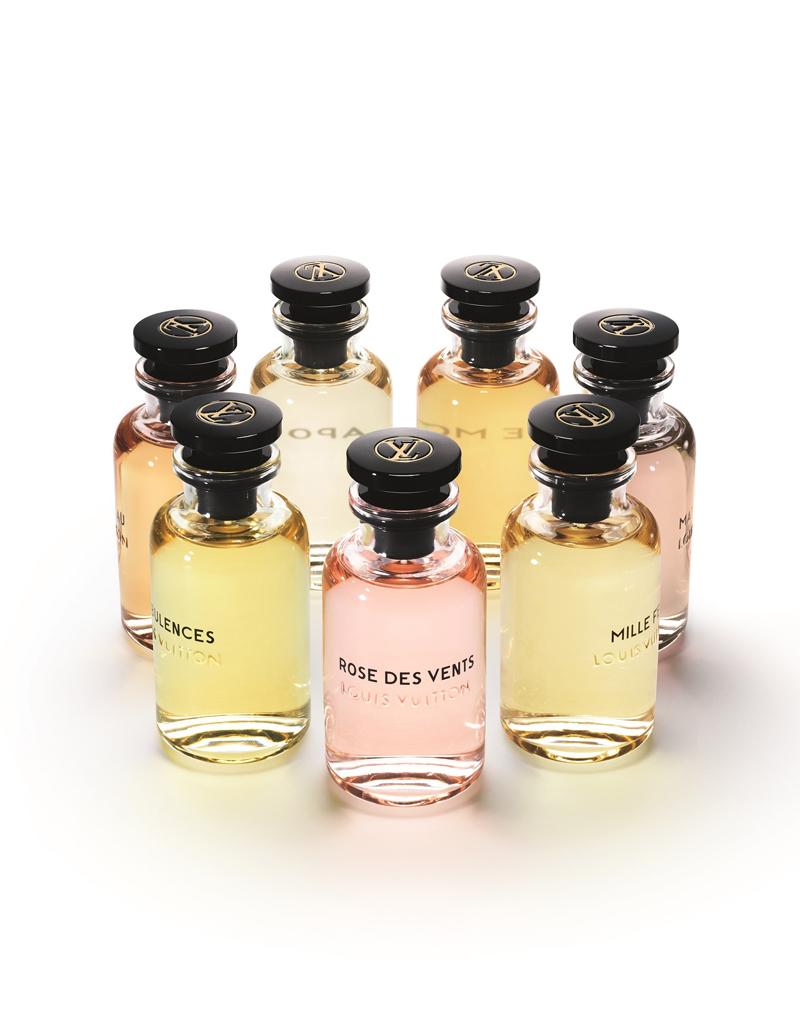 「Les Parfums Louis Vuitton」全7種 100ml 各 ¥ 30,000、200ml 各 43.000、トラベル用スプレー 7.5ml × 4 各 ¥ 30,000、ミニチュア セット 10ml × 7 ¥ 30,000 ※ 9月15日より発売