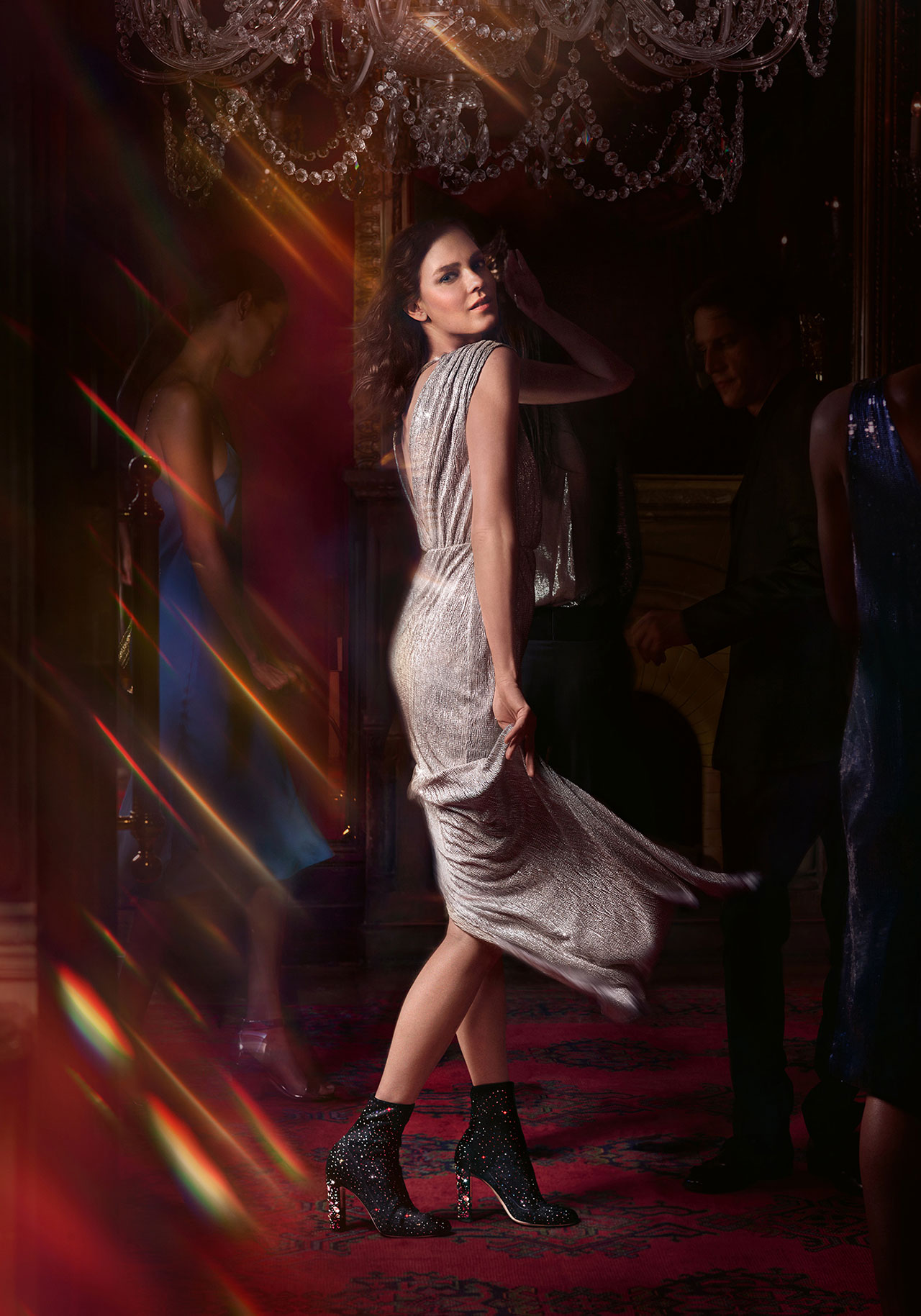 Shot by Serge Leblon, the campaign stars models Kati Nescher and Roch Babot. | ©︎ Jimmy Choo