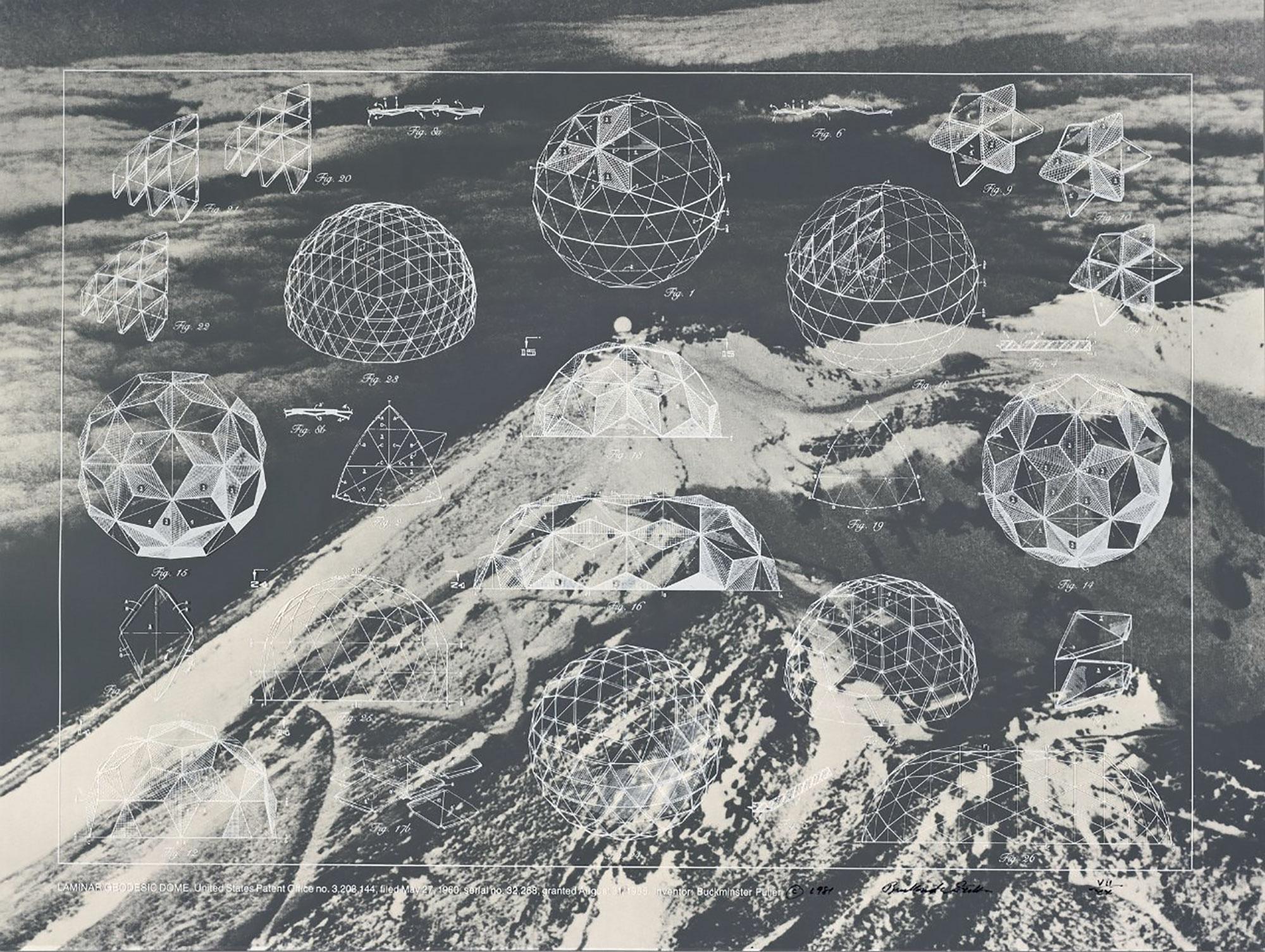 バックミンスター・フラー ポートフォリオ「一つを巡る十二の発明」より 1981 年 シルクスクリーン 76.2×101.6cm