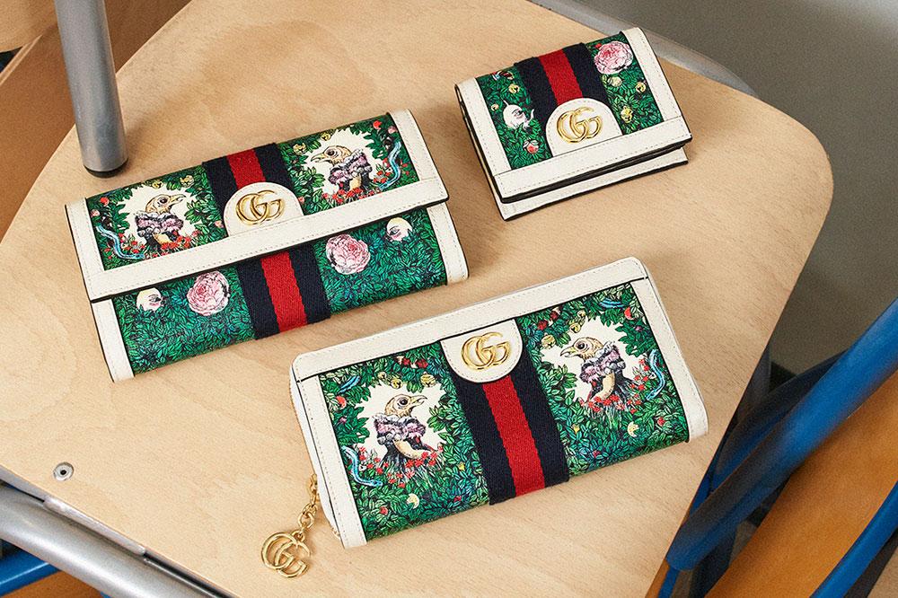 (左上から) GG コンチネンタルウォレット W19×H10×D3.5 ¥86,000、GG カードケース W11×H8.5×D3 ¥47,000、GG ジップアラウンドウォレット W19.5×H11×D3 ¥82,000| ©︎Gucci
