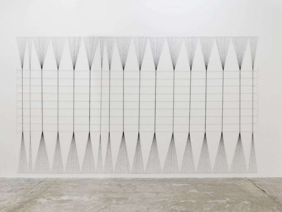 "Kazuko Miyamoto Egypt III 1978 Industrial cotton string and nails 285 × 504 cm Installation view of ""Kazuko Miyamoto"" at Circuit, Lausanne, 2016"