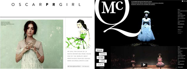 (Left) Oscar de la Renta on Tumblr (Right) McQ on Tumblr