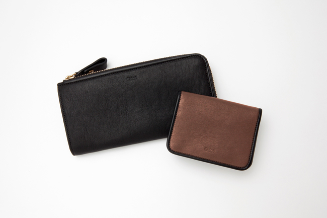(Left) long zip wallet Black | (Right) card case Rock