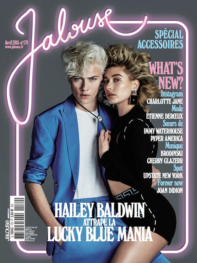 『Jalouse』最新号で、Lucky Blue Smith とカバーを飾った Hailey Baldwin。Images via Jalouse Facebook page