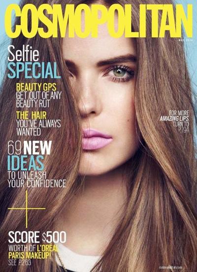 米『Cosmopolitan』2014年4月号より、定期購読者に向けた特典カバーに採用された L'Oreal のネイティブ広告。