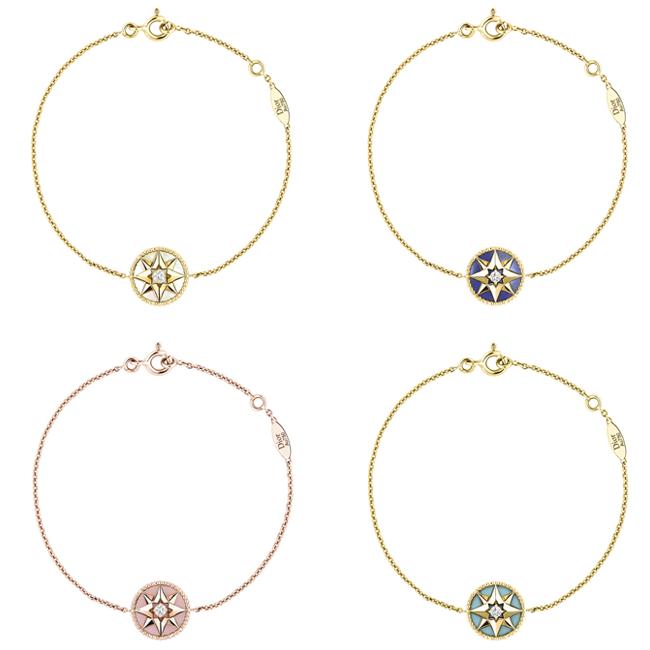 (左上から時計回り) ローズ デ ヴァン ブレスレット (YG、マザー オブ パール、ダイヤモンド)¥185,000、(YG、ラピスラズリ、ダイヤモンド)¥230,000、(YG、ターコイズ、ダイヤモンド)¥195,000、(PG 、ピンクオパール、ダイヤモンド) ¥220,000 | © Dior