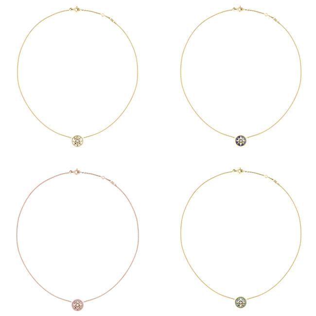 (左上から時計回り) ローズ デ ヴァン ネックレス(YG、マザー オブ パール、ダイヤモンド)¥190,000、(YG、ラピスラズリ、ダイヤモンド)¥240,000、(YG、ターコイズ、ダイヤモンド)¥205,000、(PG 、ピンクオパール、ダイヤモンド) ¥225,000 | © Dior