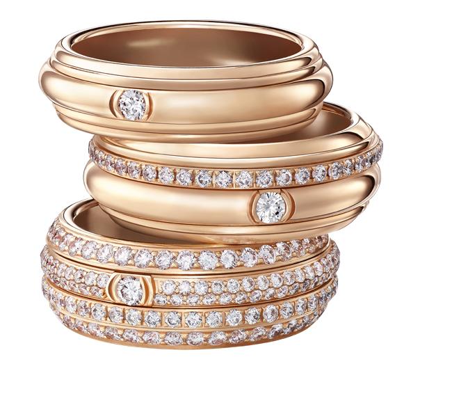 (上から) POSSESSION リング (PG、ブリリアントカット ダイヤモンド) ¥ 264,000、¥ 595,000、¥ 1,875,000 (サイズによって変動あり) | © Piaget