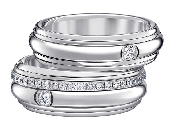 (上から) POSSESSION リング (WG、ブリリアントカット ダイヤモンド) ¥ 280,000、¥ 605,000 | © Piaget