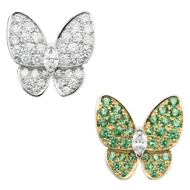 ドゥ パピヨン イヤリング (WG × YG、ツァボsライトガーネット、ダイヤモンド) ¥ 2,575,000   © Van Cleef & Arpels