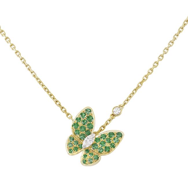 ドゥ パピヨン ペンダント (WG × YG、ツァボライトガーネット、ダイヤモンド) ¥ 1,110,000   © Van Cleef & Arpels