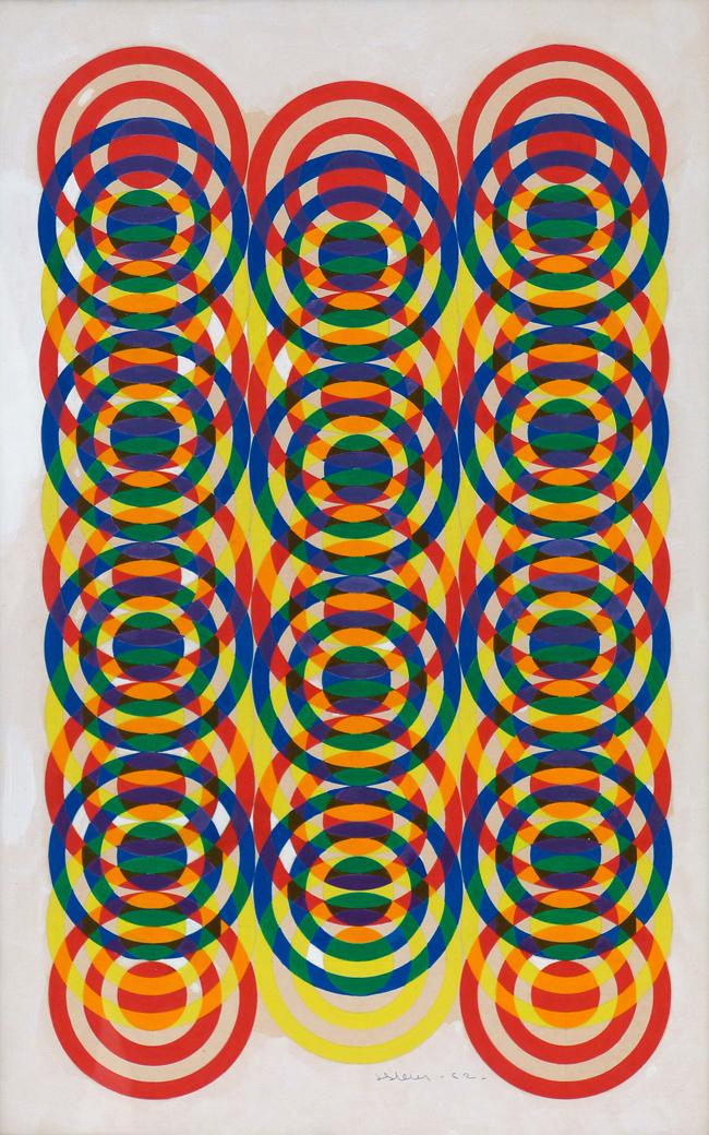 ジョエル・スタイン《3原色減法混色原理にて2色×2色=異3原色》1962年 写真提供: Centro Culturale Arte Contemporanea Italia-Giappone(ACIG), Parma
