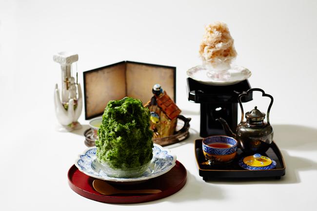 飲食スペース「お茶と酒 たすき」のメニュー例。'富士山の天然氷'を使ったかき氷、お茶をベースにしたオリジナルのカクテルなどを提供