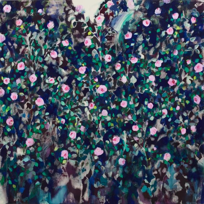 """佐藤翠 """"English Rose garden"""" 2014 194.0 × 194.0 アクリル、綿布"""