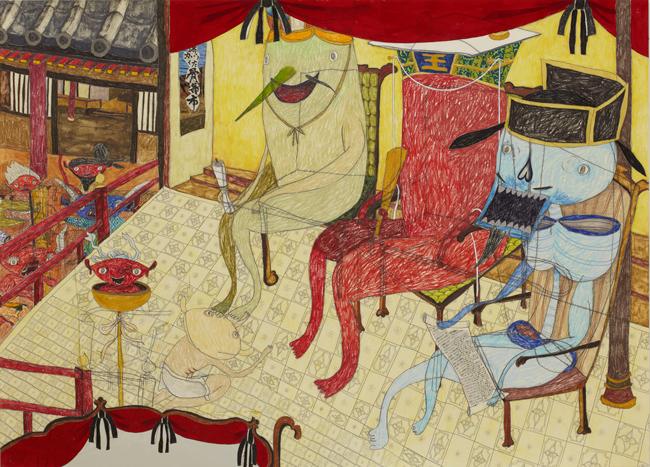 「閻魔王庁」79.0 x 110.0 cm,acrylic,color pencil,pencil,metal sheet,collage on paper ©Shintaro Miyake