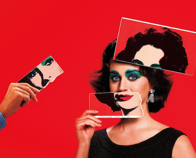 誌面では「ICONS by Carine Roitfeld & Jean-Paul Goude」の他に、Elizabeth Taylor (エリザベス・テイラー) に変身した Katy Perry の写真も掲載されている | © Harper's BAZAAR