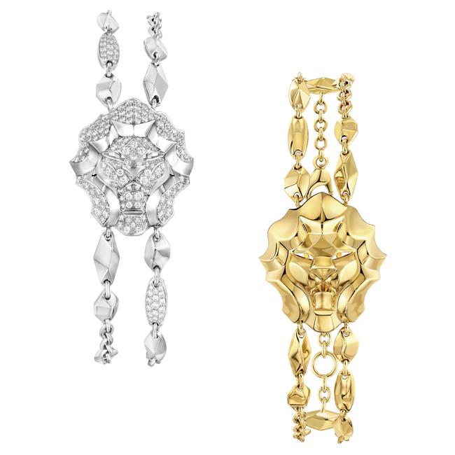 (左から) Sous le Signe du Lion ブレスレット (WG、ダイヤモンド 1.50 ct) ¥ 2,722,500、ブレスレット (YG) ¥1,285,000 | © chanel
