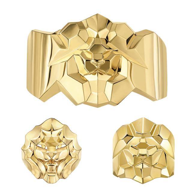 (上から時計回り) Sous le Signe du Lion カフ (YG) ¥ 3,137,500 (参考価格)、リング (YG) ¥ 642,500、リング (YG) ¥ 572,500 | © Chanel