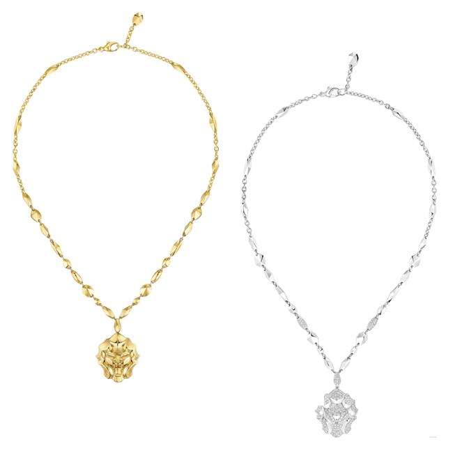 (左から) Sous le Signe du Lion ネックレス (YG) ¥ 1,830,000、ネックレス (WG、ダイヤモンド 1.77 ct) ¥ 3,695,000 | © Chanel