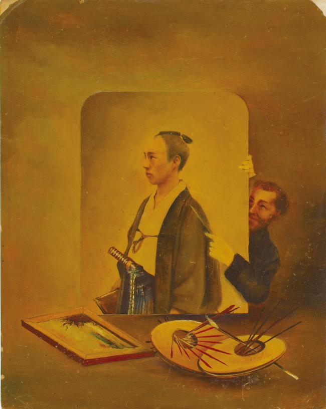 横山松三郎 「丁髷の男と外国人」 写真油絵・コラージュ、1882年(明治15)頃、個人蔵