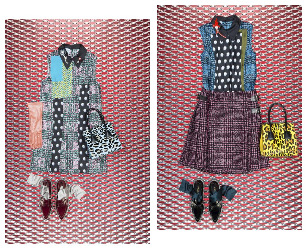 (左) DSM 限定 ワンピース ¥ 253,000 (右) ブラウス ¥ 132,000、スカート ¥ 231,000円