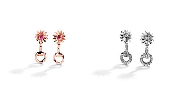 「グッチ フローラ コレクション」イヤリング 左から: (18Kピンクゴールド、ピンクサファイア、ルビー) ¥155,000、(18Kホワイトゴールド、ダイヤモンド) ¥425,000