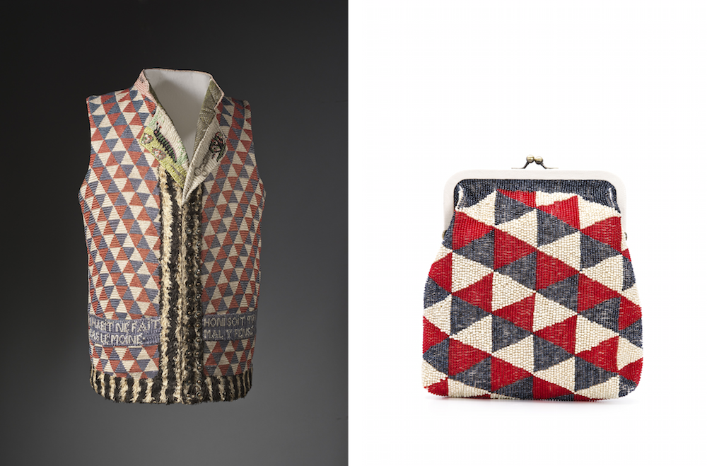 (左から)「Mans Vest」1789〜94年 作者不明、「Wear LACMA」ビーズクラッチ