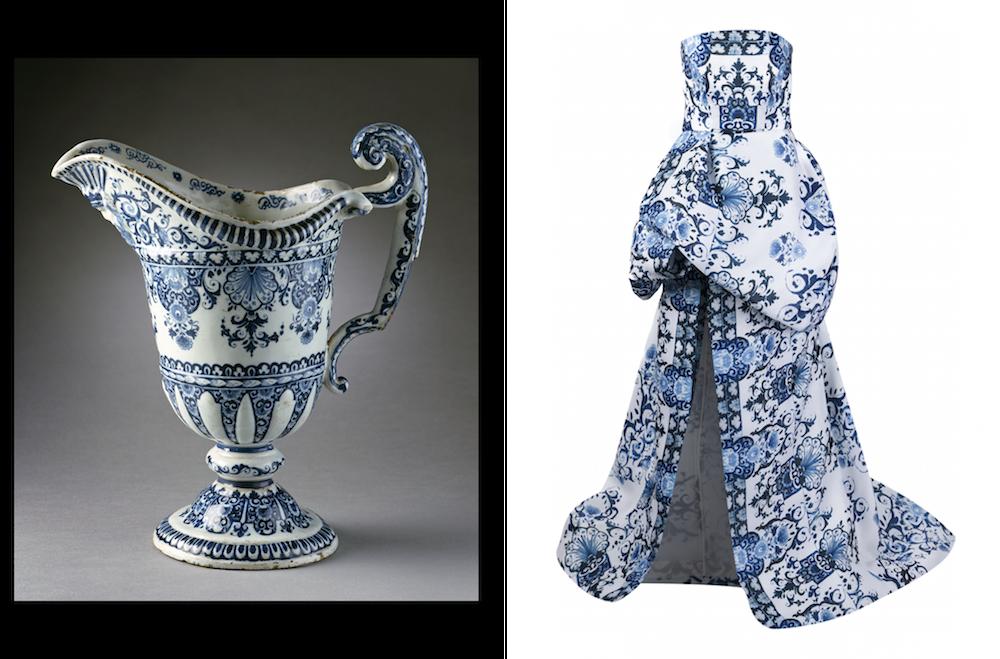 (左から) ウォーターピッチャー 1710年代、「Wear LACMA」ドレス