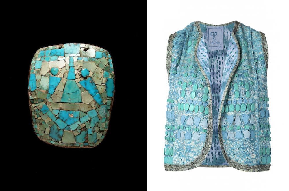 (左から) 「モザイクマスク」メキシコ チアパス マヤ 400〜1520年、「Wear LACMA」ベスト