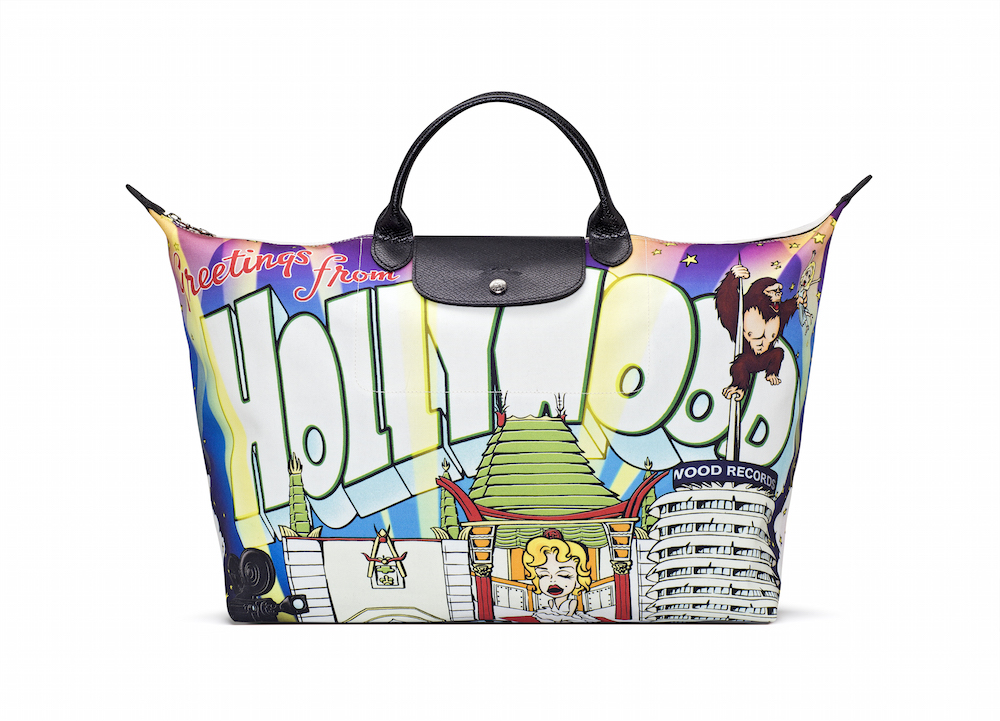 Jeremy Scott コラボ10周年記念モデル Le Pliage®「GREETINGS FROM HOLLYWOOD」¥ 37,000 ※Longchamp の公式サイトのみでの取り扱い。| © Longchamp