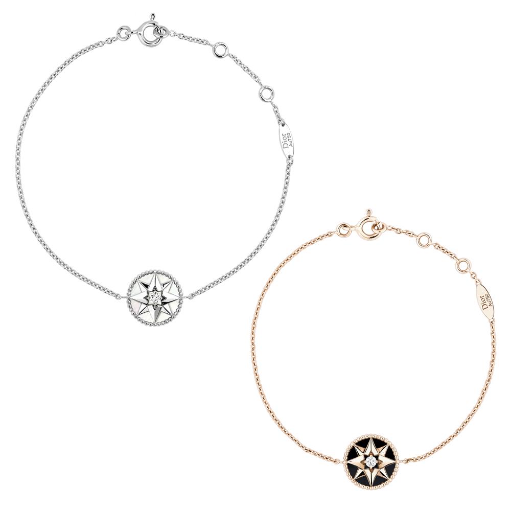 (左から) Rose des Vents ブレスレット (WG、マザー オブ パール、ダイヤモンド0.045ct) ¥ 195,000、(PG、オニキス、ダイヤモンド 0.045ct) ¥ 190,000 | © Dior
