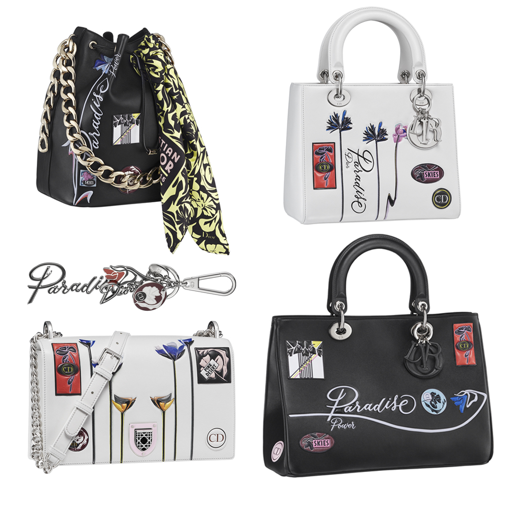 (右上から時計回り) Lady Dior ¥ 520,000、Diorissimo ¥ 550,000、Diorama ¥ 480,000、Paradise キーチャーム ¥ 65,000、Dior Bubble ¥ 600,000 (スカーフ別売り ¥ 39,000)