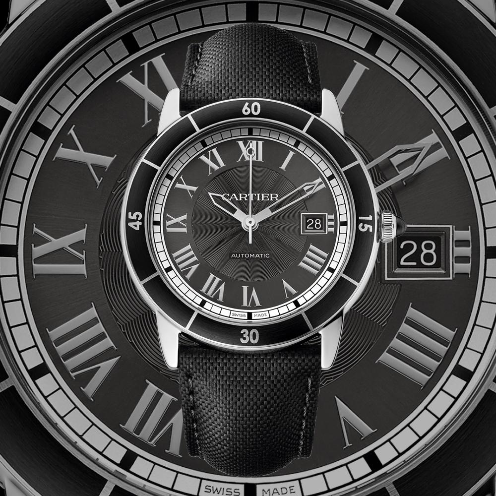 Croisière de Cartier 42mm スティール製ケース、ADLC加工のスティール製ベゼル、ブラックカーフスキンベルト、自動巻き1847MC、100M防水 ¥ 497,500