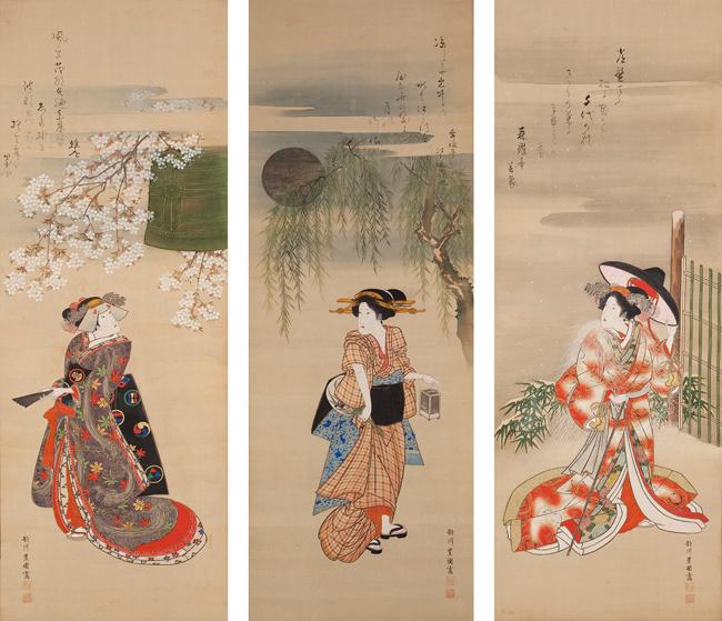 初代歌川豊国「見立雪月花図」 絹本三幅 文政3~7年(1820~24)頃 © WESTON COLLECTION