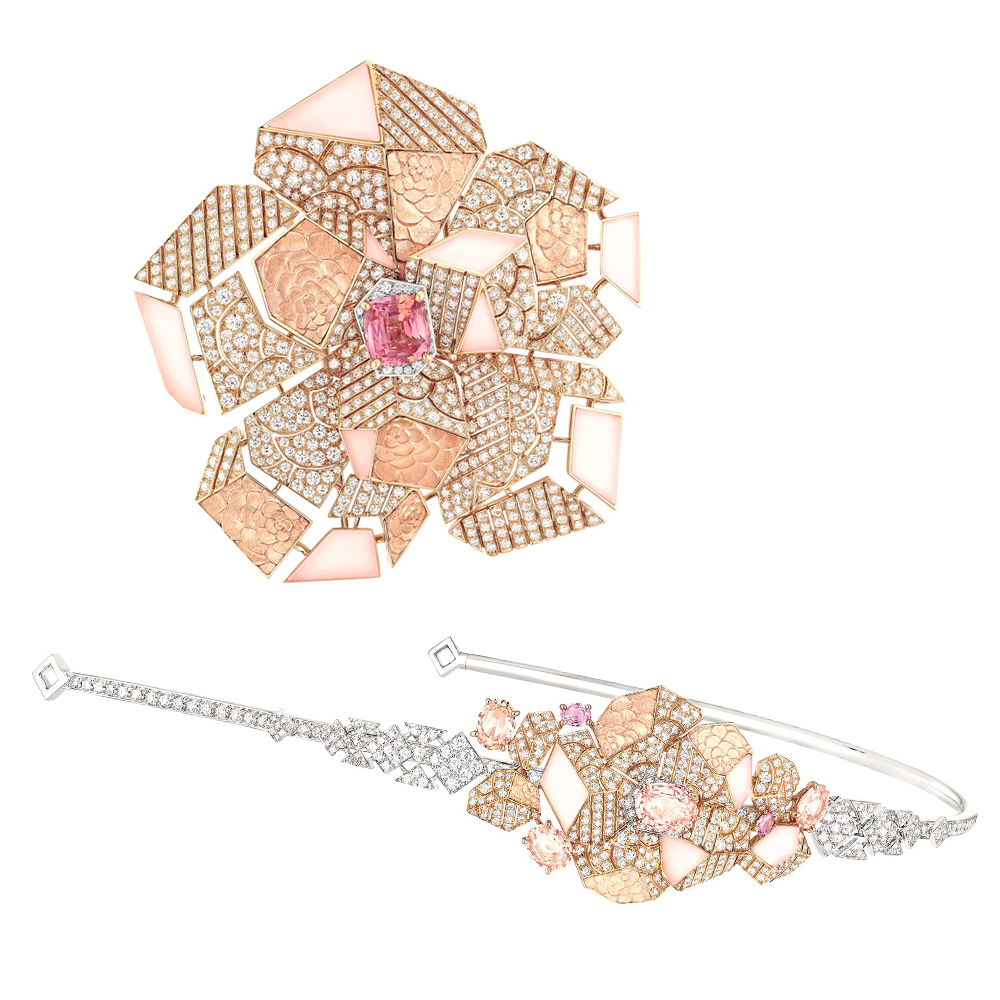 (上から) 「Sunset de Chanel(サンセット ドゥ シャネル)」ブローチ (WG、PG、パパラチアサファイア 3.07ct × ダイヤモンド計6.12ct、ピンクオパール 計4.72ct) ¥ 41,472,000、ヘッドジュエリー (WG、PG、パパラチアサファイア 計6.02ct × ダイヤモンド計6.71ct、ピンクオパール 計1.59ct) ¥ 29,619,000 (それぞれ税込参考価格)