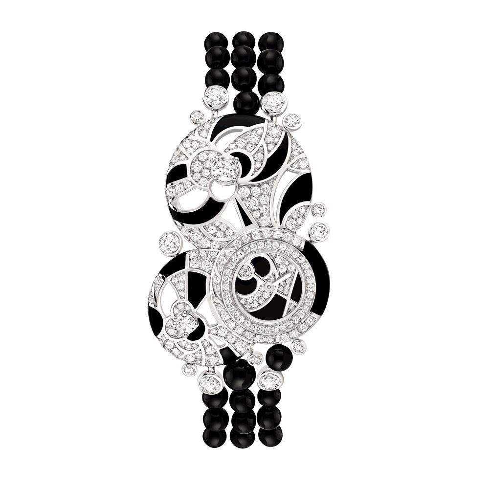 「Midnight (ミッドナイト)」ジュエリーウォッチ (WG、ダイヤモンド計2.62ct × オニキス) ¥ 27,000,000 (税込参考価格)