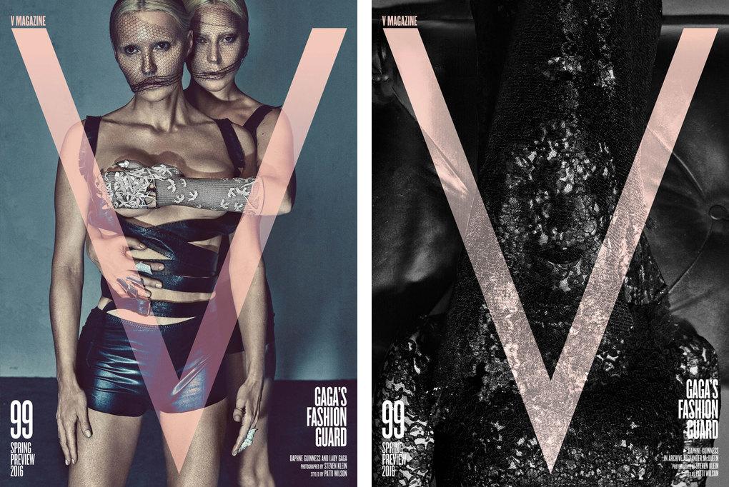 (左から)『V Magazine』No.99 Lady Gaga、Daphne Guiness | Images via www.vmagazine.com