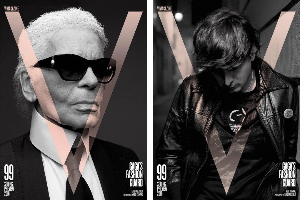 (左から)『V Magazine』No.99 Karl Lagerfeld、Hedi Slimane | Images via www.vmagazine.com