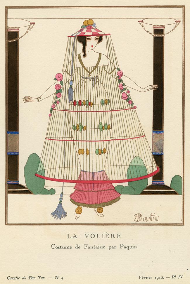 シャルル・マルタン 《大きな鳥かご パキャンの風変わりな服装》 『ガゼット・デュ・ボン・トン』 1913年2月 神戸ファッション美術館蔵